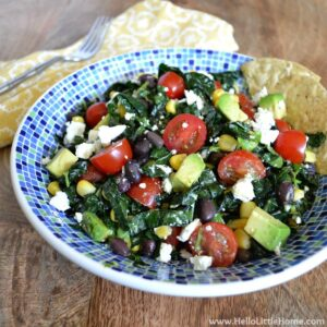 You are going to love this Mexican Kale Salad! Get this easy recipe + over 60 more vegetarian summer recipes that are perfect for any occassion!   Hello Little Home