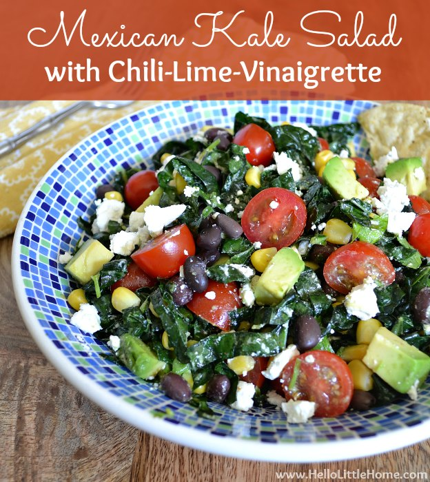 Mexican Kale Salad with Chili-Lime Vinaigrette ... this fresh, flavorful vegetarian kale salad recipe makes a delicious, filling meal that everyone will enjoy! This Kale Mexican Salad is filled with delicious, healthy ingredients, like beans, avocado, tomatoes, and cheese and is vegan-friendly and gluten-free. | Hello Little Home #kalesalad #mexicanrecipe #saladrecipe #mexicankalesalad #vinaigrette #vegetarianrecipe