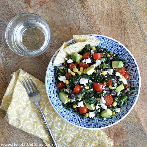 Mexican Kale Salad with Chili-Lime Vinaigrette ... this fresh, flavorful vegetarian kale salad recipe makes a delicious, filling meal that everyone will enjoy! | Hello Little Home