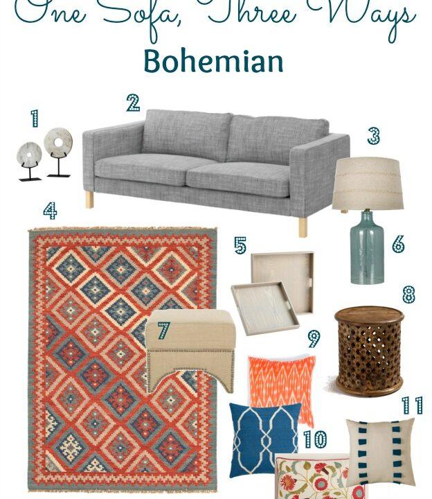 Living Room Style: One Sofa, Three Ways - Bohemian | Hello Little Home #InteriorDesign #furniture
