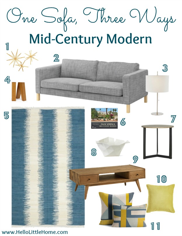 Living Room Style: One Sofa, Three Ways - Mid-Century Modern | Hello Little Home #InteriorDesign #furniture