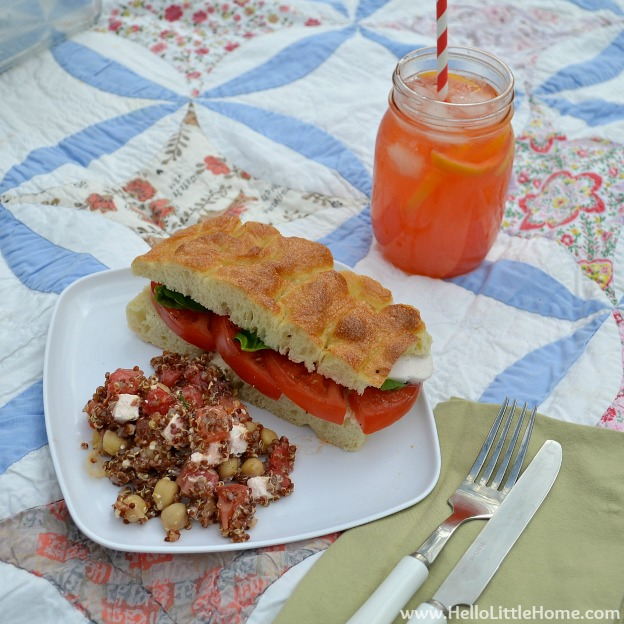 Picnic Recipes: Watermelon-Basil Quinoa Salad, Caprese Sandwiches & Strawberry Lemonade | Hello Little Home