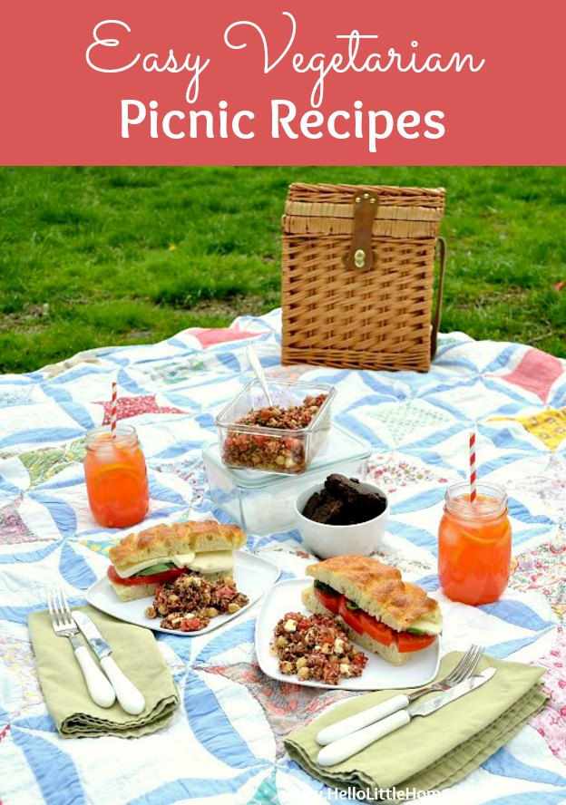 Easy Vegetarian Picnic Recipes for the ultimate summer picnic! These healthy vegetarian picnic ideas are perfect for summer parties. With ideas for salads, sandwiches, drinks, sweets, lunches, and more, these simple picnic recipes will help your plan an easy summer picnic! Vegan and Gluten-Free options, too! | Hello Little Home #picnic #picnicrecipes #picnicideas #summerpicnic #summerfun #summerfood #vegetarianrecipes #veganrecipes