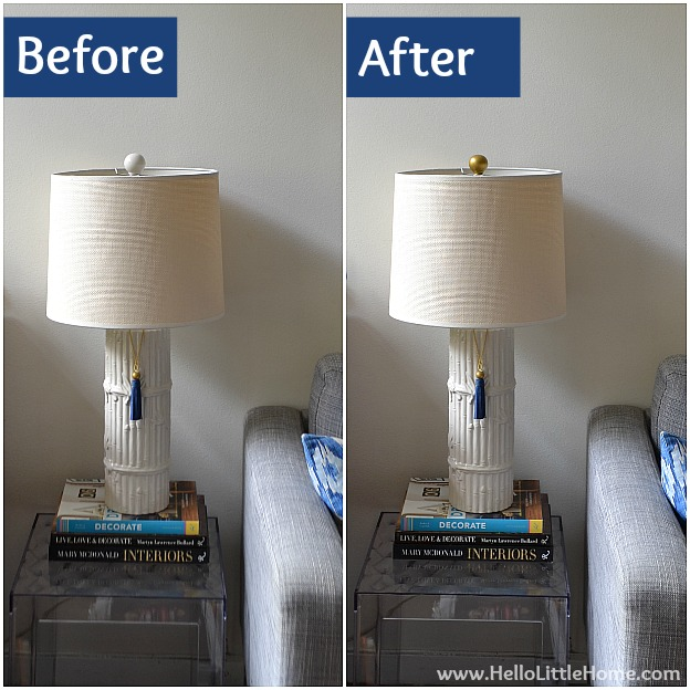 DIY Gold Finials: Before and After | Hello Little Home #InteriorDesign #Decor