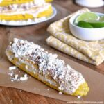 Elote: Mexican Grilled Corn ... one of 100 Vegetarian Game Day Recipes! Get ready for the big game with over 100 vegetarian and vegan appetizers, soups, chilis, main dishes, sandwiches, breakfast, desserts, and more that will make your next football watching party unforgettable! | Hello Little Home