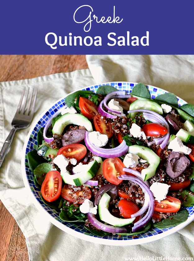 The BEST Greek Quinoa Salad Recipe! This healthy Greek Quinoa Salad is full of fresh veggies and ingredients: cucumbers, tomatoes, onions, spinach, feta, and Kalamata olives. An easy to make Greek Salad Dressing makes the flavors pop! Vegan friendly (just skip the feta) + gluten-free. A great clean eating, vegetarian salad, that makes a delish meatless meal! | Hello Little Home #greeksalad #greekquinoasalad #healthyrecipes #vegetarianrecipes #quinoa #quinoasalad #meatlessmonday #meatless