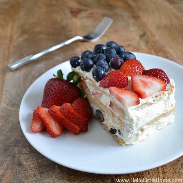 Red, White & Blue Icebox Cake | Hello Little Home #recipe #dessert #NoCook