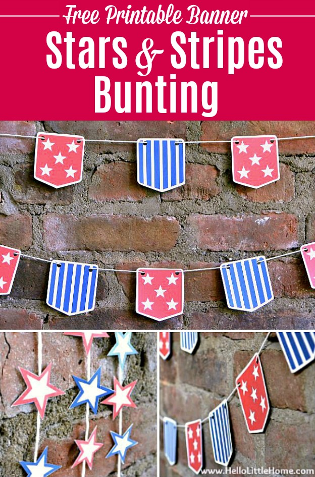 DIY Stars and Stripes Bunting ... a fun + easy way to add patriotic decor to your home, perfect for 4th of July, Memorial Day, or any festive occasion! Get the free printable for this American flag inspired banner, then assemble it in minutes. This DIY red, white, and blue patriotic bunting is the perfect way to add a dose of stars and stripes to your home! | Hello Little Home #freeprintable #4thofjuly #fourthofjuly #patriotic #partyideas #partydecor #redwhiteandblue