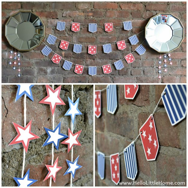 Decorate your home for any patriotic occasion with this fun Stars and Stripes Bunting with free printable! This cute print and cut garland is perfect for the 4th of July or any red, white, and blue party! | Hello Little Home
