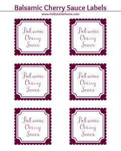 Balsamic Cherry Sauce Label | Hello Little Home #printable