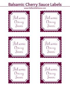 Balsamic Cherry Sauce Label | Hello Little Home #printable