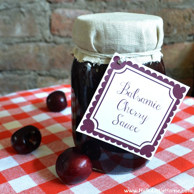 Celebrate cherry season with this delicious Balsamic Cherry Sauce! Serve this easy to make cherry caramel sauce over pancakes, pound cake, or ice cream, or give it as a gift using the free printable label! | Hello Little Home
