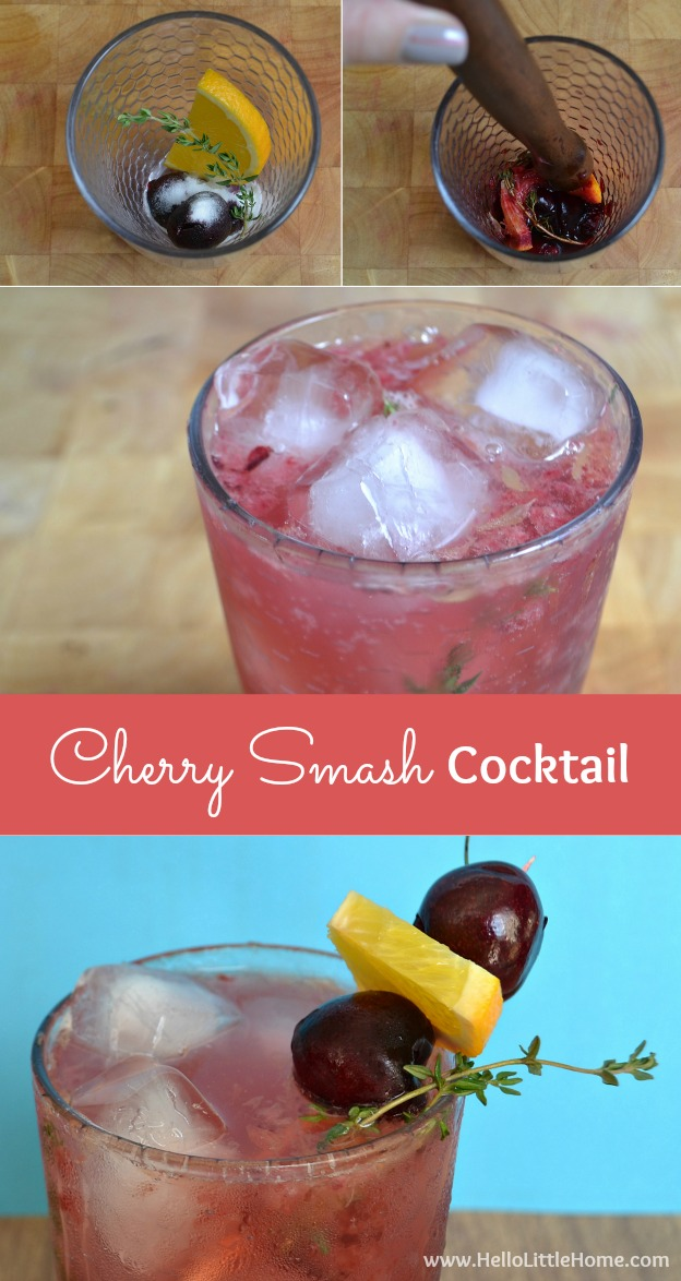 This refreshing Cherry Smash Cocktail is a fun twist on the classic old-fashioned! | Hello Little Home