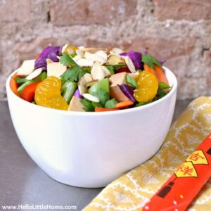 Chinese Chopped Salad with fresh veggies, tofu, and oranges.