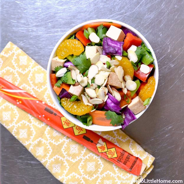 A bowl of Chinese Chopped Vegetable Salad with Tofu.
