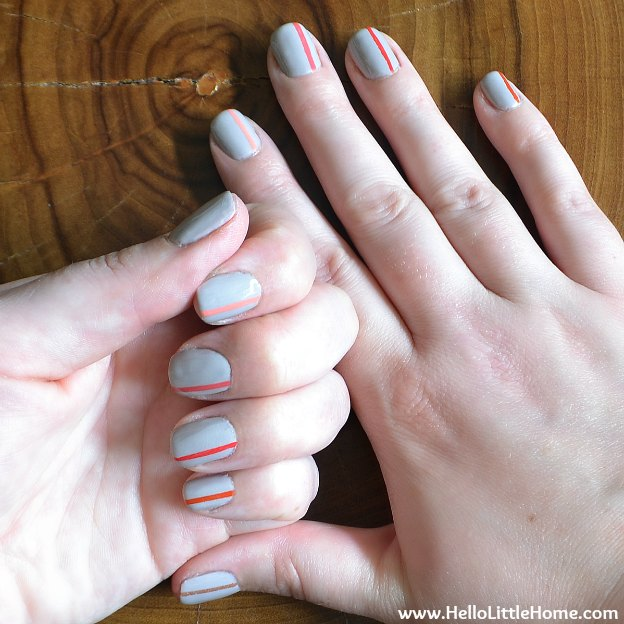 Easy Striped Nail Art | Hello Little Home #Manicure #NailPolish