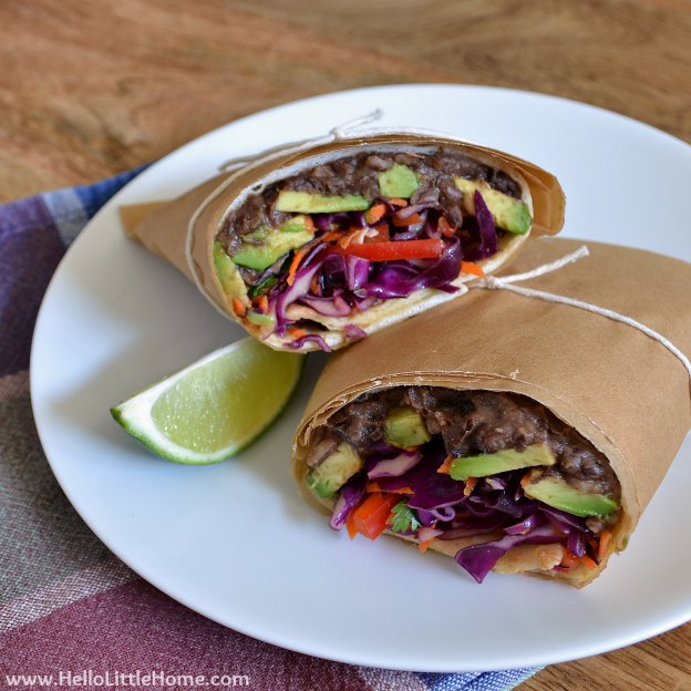 Mexican Black Bean Wrap with Avocado & Tri-Color Slaw