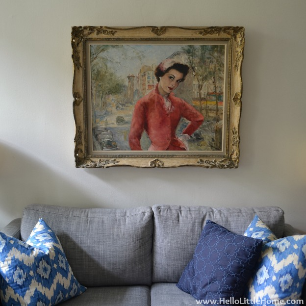 Peek into My Home: Painting over Couch | Hello Little Home #InteriorDesign #decor