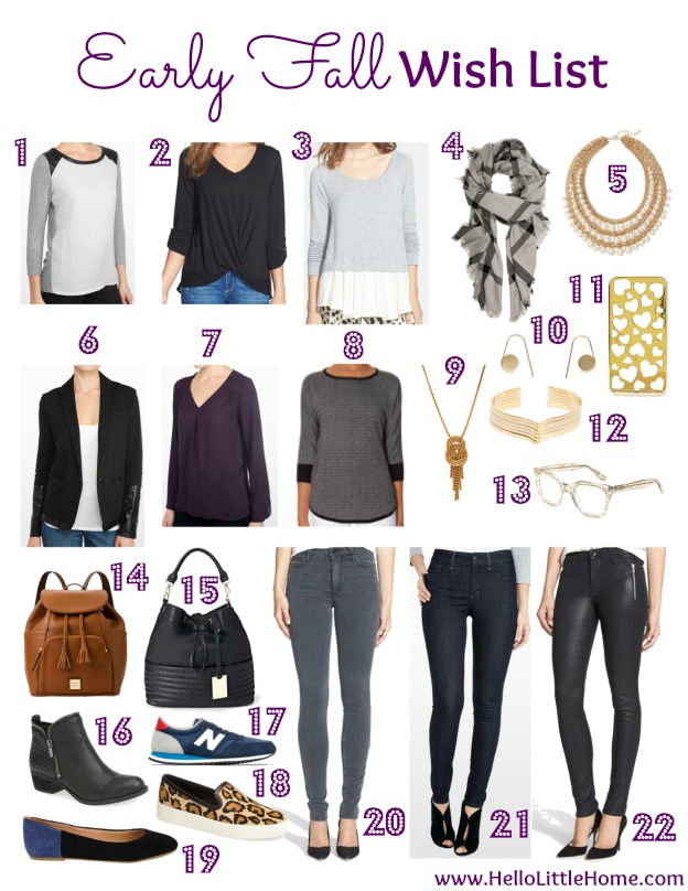 Early Fall Wish List   Hello Little Home #fashion #style