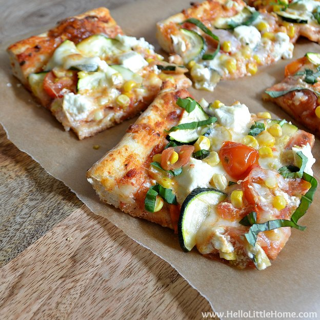 Height of Summer Veggie Pizza | Hello Little Home #recipe #vegetarian
