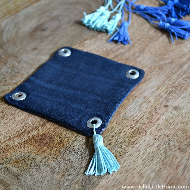 Ombre Tassel Cocktail Napkins: Attaching Tassels | Hello Little Home #DIY #coasters