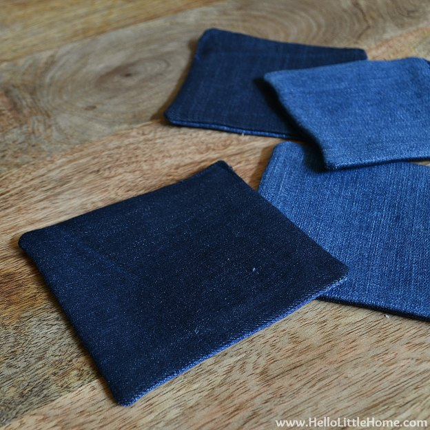Ombre Tassel Cocktail Napkins: Turn Squares Right Side Out | Hello Little Home #DIY #coasters