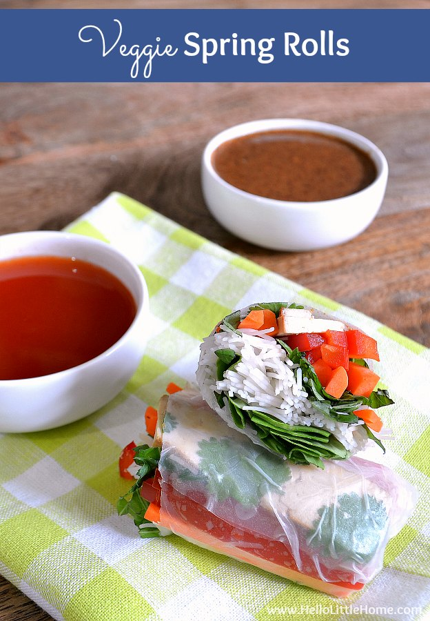 Easy Veggie Spring Rolls recipe with 2 delicious dipping sauces! Learn how to make homemade fresh summer rolls packed with raw veggies, herbs, and baked tofu. These vegetarian spring rolls are perfect for hot summer days and make a healthy snack or appetizer that's perfect for parties! | Hello Little Home