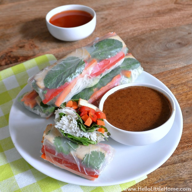 100 Must Try Vegetarian Spring Recipes ... everything from appetizers to main dishes to desserts, including these Veggie Spring Rolls! You're going to want to try each of these amazing vegetarian recipes! | Hello Little Home