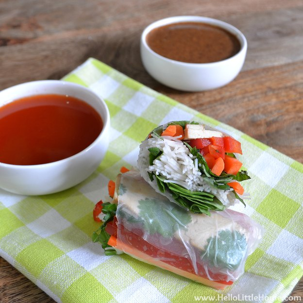 Veggie Spring Rolls with Two Dipping Sauces | Hello Little Home