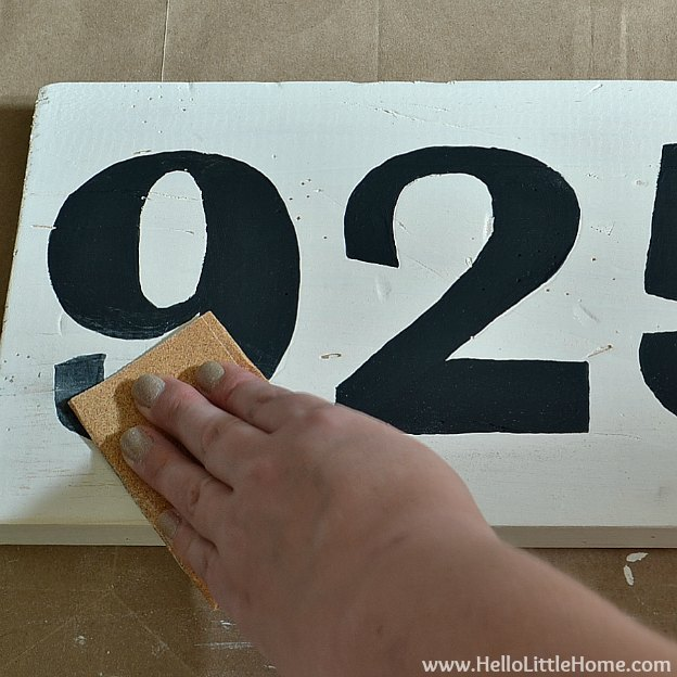 DIY Vintage Number Sign: Distressing Paint | Hello Little Home #craft #distressed #wood