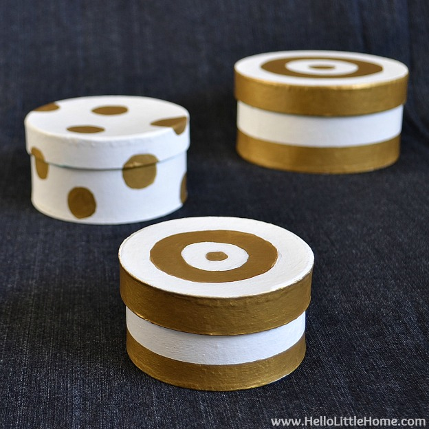 DIY Stipes & Dots Nesting Boxes | Hello Little Home #DIY #craft #gold