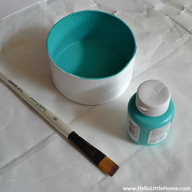DIY Stipes & Dots Nesting Boxes - Painting Turquoise | Hello Little Home #DIY #craft #gold