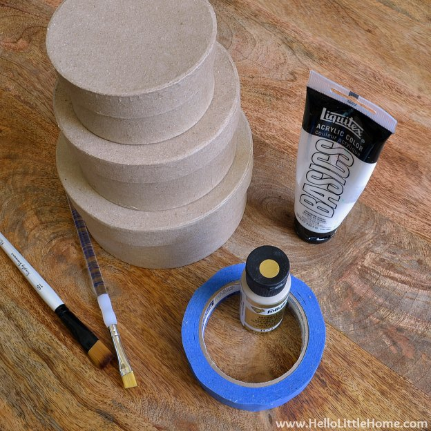 DIY Stipes & Dots Nesting Boxes: Supplies | Hello Little Home #DIY #craft #gold