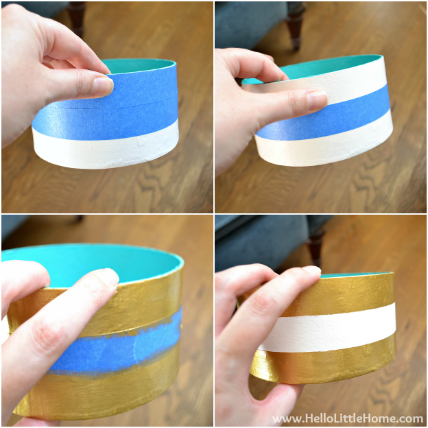 DIY Stipes & Dots Nesting Boxes - Painting Stripes | Hello Little Home #DIY #craft #gold