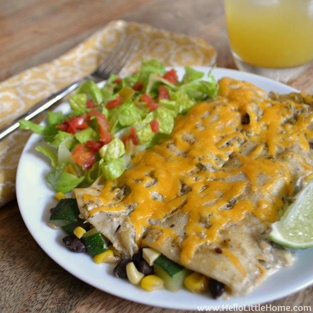Harvest Veggie Enchiladas with Crema Verde