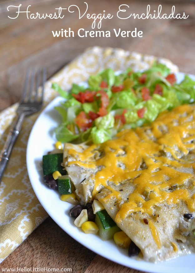 Harvest Veggie Enchiladas with Crema Verde | Hello Little Home #recipe #Mexican #vegetarian