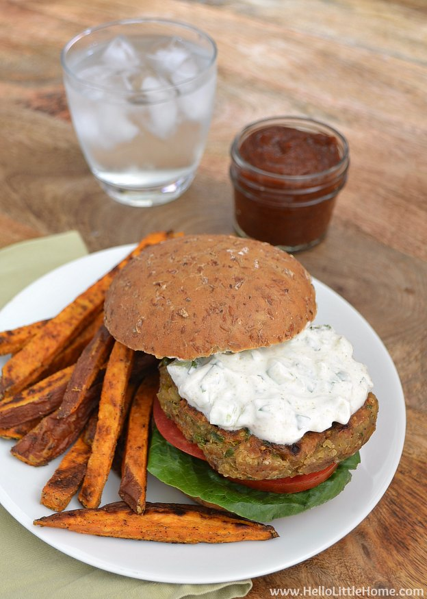 Indian-Spiced Quinoa Chickpea Burgers | Hello Little Home #VeggieBurger #vegetarian