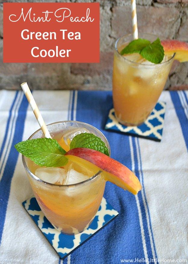 Mint Peach Green Tea Cooler | Hello Little Home #drink #recipe #IcedTea
