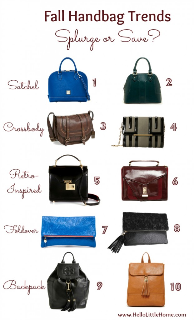 Splurge or Save: Fall Handbag Trends | Hello Little Home #style #fashion #Fall2014