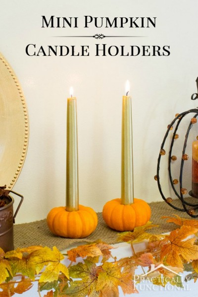 Fall DIY Ideas: Mini Pumpkin Candle Holders by Practically Functional   Hello Little Home #DIY #crafts
