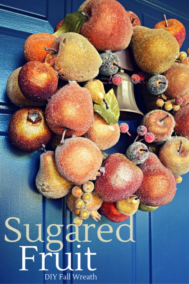 Fall DIY Ideas: Sugared Fruit Fall Wreath by Mad in Crafts   Hello Little Home #DIY #crafts