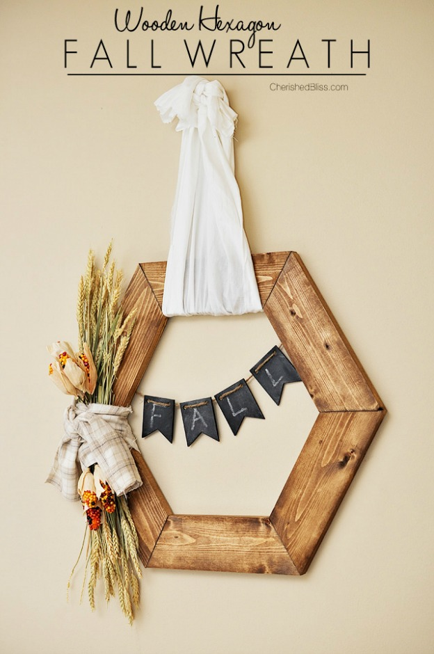 Fall DIY Ideas: Wooden Hexagon Wreath by Cherished Bliss   Hello Little Home #DIY #crafts