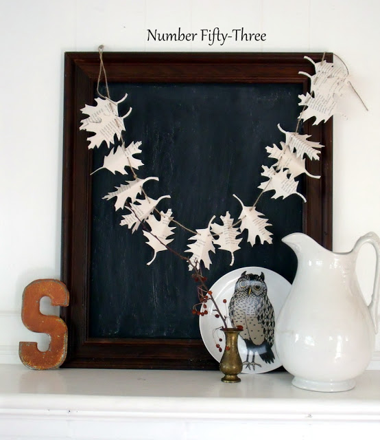 Fall DIY Ideas: Autumn Book Page Garland by Number Fifty-Three   Hello Little Home #DIY #crafts
