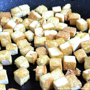 Vegetable Tofu Lo Mein: Browning Tofu | Hello Little Home #Chinese #vegetarian #vegan #recipe