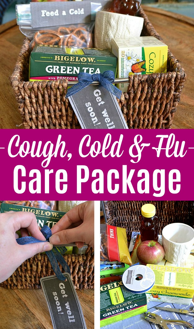 A photo collage showing how to assemble a cough, cold, and flu care package basket.