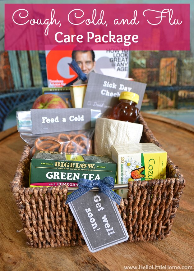 Cough, Cold, Flu Care Package ... treat your favorite sick person to a sweet care package filled with sick day essentials! It's easy to put together with free printables and sure to cheer them up! | Hello Little Home