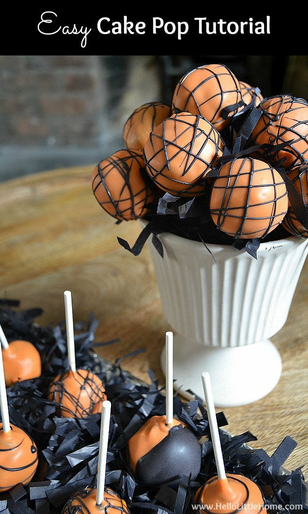 Easy Cake Pop Tutorial ... a basic cake pop recipe with everything you need to make these fun DIY treats! Learn how to make homemade cake pops from scratch in orange and black for a Halloween party or customize the colors for any event! | Hello Little Home