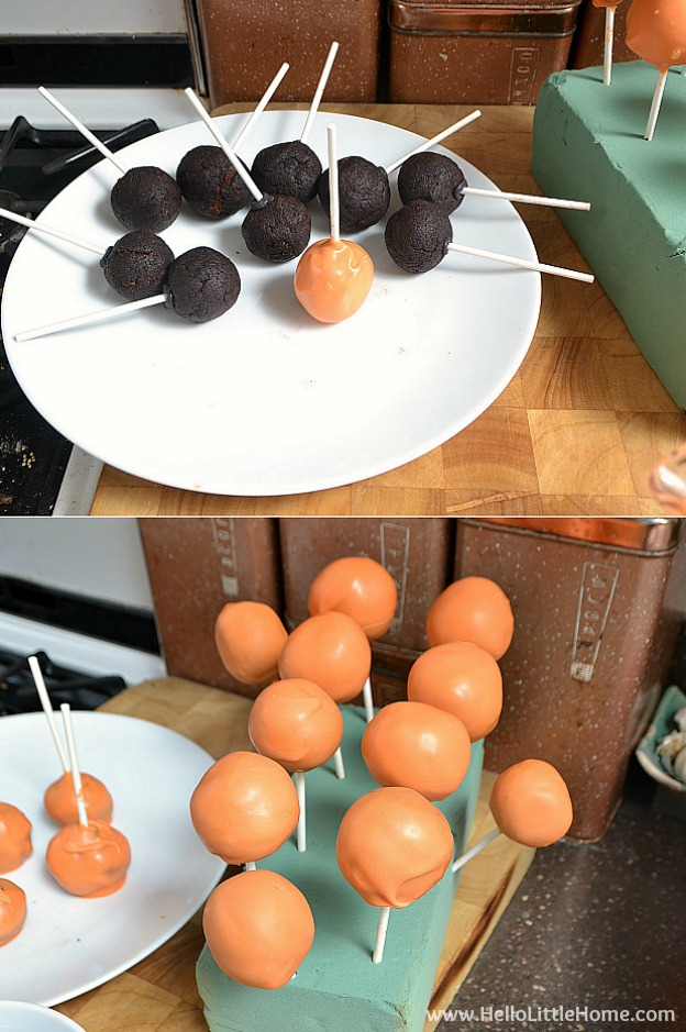 Easy Cake Pop Tutorial ... an easy recipe with everything you need to make these fun treats! Make them in orange and black for Halloween or customize the colors for any event! | Hello Little Home