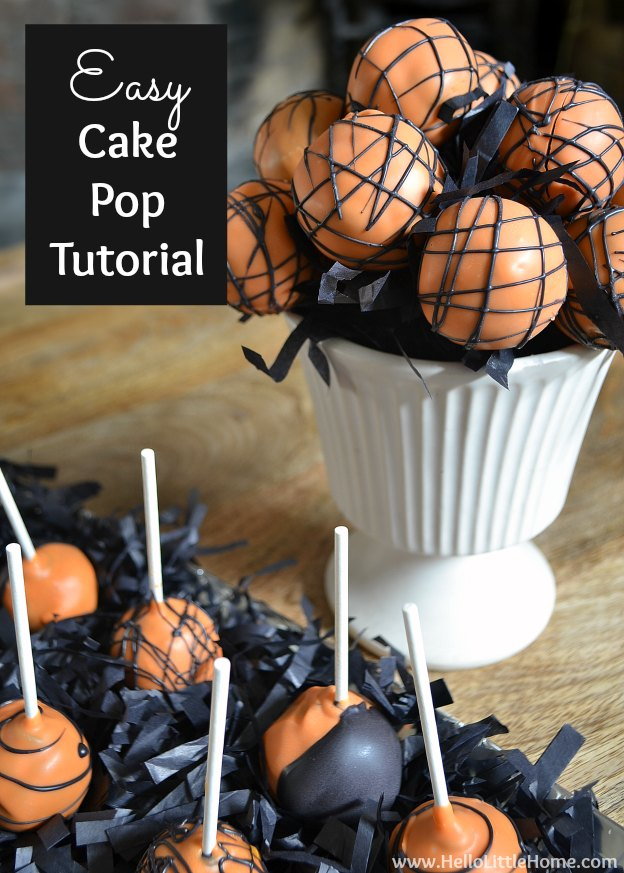 Easy Cake Pop Tutorial ... yum! Get this easy recipe + 100 other vegetarian fall recipes that are perfect for any occassion! | Hello Little Home