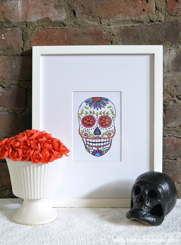 Free Sugar Skull Printable ... an easy way to decorate your home for Halloween or Day of the Dead! | Hello Little Home